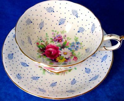 Paragon Lovely Blue Dot Summer Flowers Fine Bone China Cup & Saucer