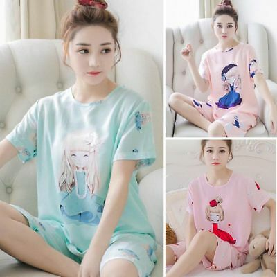 Womens Milk Silk Pajamas Set Pajama Pyjamas Set Sleepwear Cute Summer Lightwear