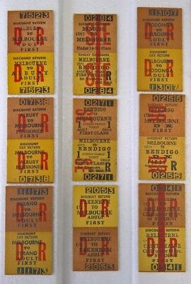 """9"" VINTAGE VICTORIAN RAILWAYS TRAIN TICKETS MELBOURNE 1st CLASS VARIOUS!UNUSED!"