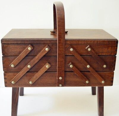Vintage Wooden Fold Out Accordian Sewing Box Made in RomaniaDark Brown