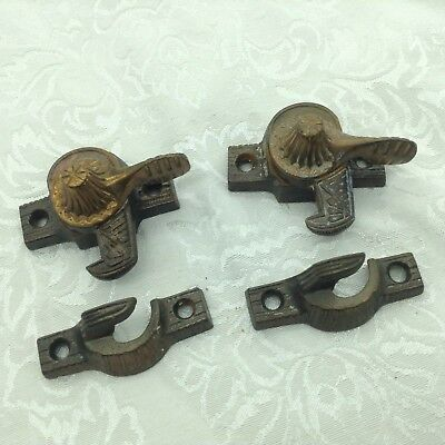 2 Antique Window Sash Locks Eastlake Aesthetic Lot