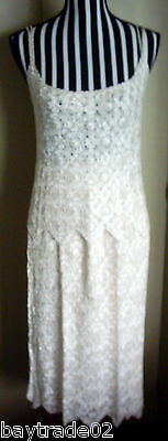 Sophisticated Ivory Crochet Lace Pure Silk Yarn Skirt + Top New Races, Wedding ?