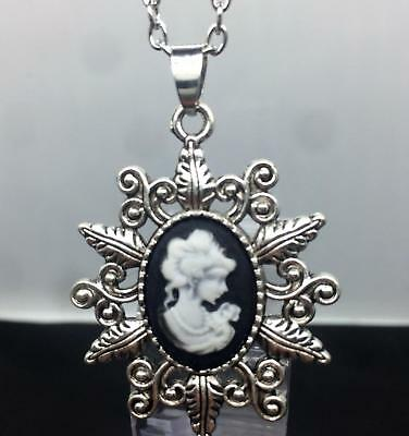 """lady women MOM MOTHER black CAME0  pendant  SILVER 20"""" necklace FREE $10 GIFT"""