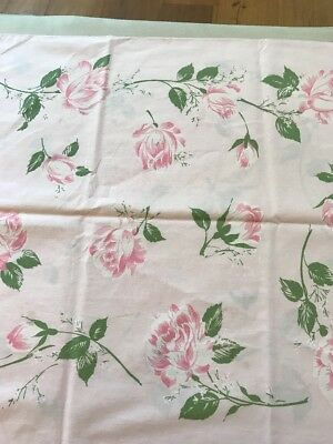 Vintage Lady Pepperell Pink Roses Standard Pillowcase 100% Fine Cotton Percale
