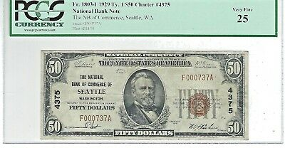"1929  $50 NBN CHARTER #4375  ""THE NB of COMMERCE of SEATTLE  WASHINGTON"""