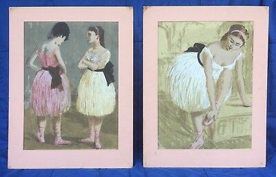 RARE matched pair of early Roger Kuntz serigraphs of ballerina dancers