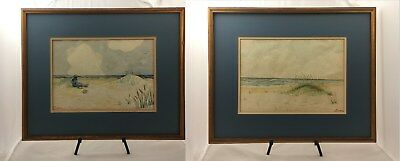 Matched pair of watercolor paintings by English/Australian artist Archibald Webb