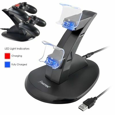 PlayStation 4 PS4 Controller LED Charger Dock Station 2 USB Fast Charging Stand