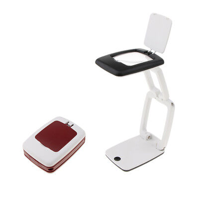 LED Lighted Folding Mini Size Magnifier Lamp Hands Free 3X Magnification