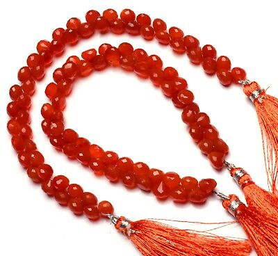 """Natural Gemstone Carnelian Faceted 6.5MM Approx. Onion Shape Briolette Beads 8"""""""