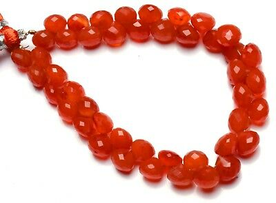 """Natural Gemstone Carnelian Faceted 8.5MM Approx. Onion Shape Briolette Beads 8"""""""