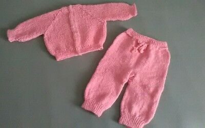 Puppenkleidung Strickjacke + Hose in rosa