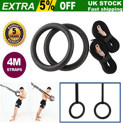 Gymnastic Rings Pair Gym Hoop Crossfit Exercise Fitness Home Ab Workout Dip UK