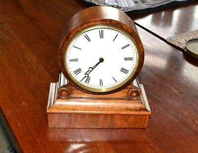 Exquisite French mid 19th C 8 Day Walnut drumhead clock