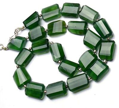 Natural Gem Serpentine Super Quality Faceted Nugget Beads Necklace 17""