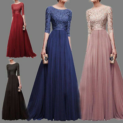 Chiffon Lace Long Evening Formal Party Ball Gown Prom Bridesmaid Maxi Dress UK
