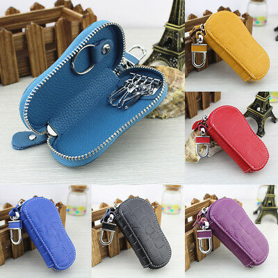 FT- Chic Faux Leather Car Key Bag Holder Keychain Ring Case Wallet for Men Women
