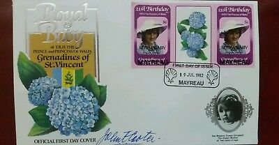 Royal baby 1st day cover Mayreau 19th june 1982 over stamped