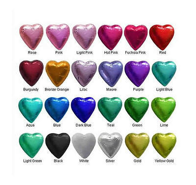 In Cadbury Chocolate Hearts-Choice Of Foil Colours-Wedding Parties-Free Postage