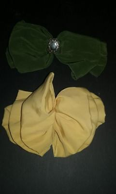 Lot of 2 Vintage Hair Bow Barrette Clips