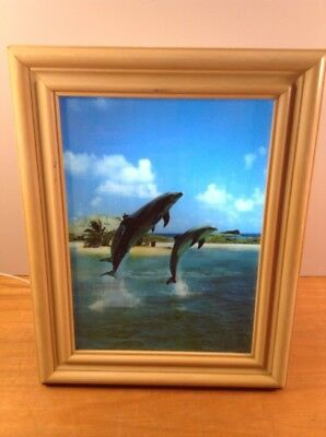 """Motion Picture Light Up 10"""" x 13"""" Jumping Dolphins Picture MP-W10 E232080 54YA"""
