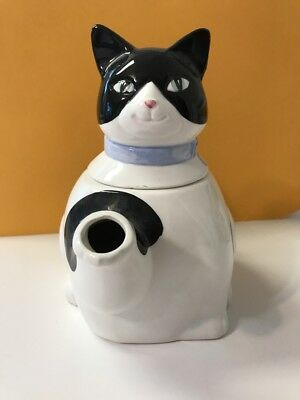 Ceramic Black And White Cat Teapot with green eyes