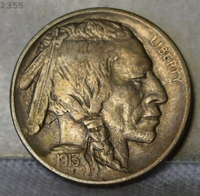 """1913 Type 1 *Double Die Obverse* Buffalo Nickel """"AU"""" *Free S/H After 1st Item*"""