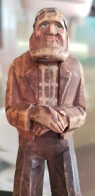 VINTAGE FOLK ART HAND-CARVED SEATED WOODEN OLD MAN With Expressive face