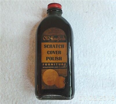 Vintage Old English Furniture Scratch Cover Polish Glass Bottle NICE