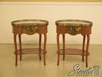 29334E: Pair Of French Louis XIV Style Marble Top Bronze Mounted 1 Drawer Stands