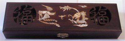 Chinese Carved Hardwood Reticulated Inlaid Mother of Pearl Chopstick Box, 5 Pair