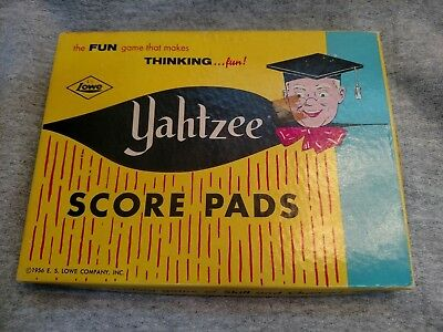 Vintage Yahtzee Score Pads In Original Box With Instructions