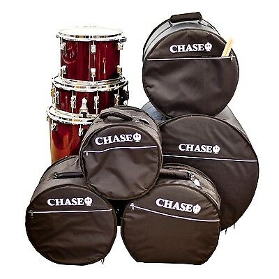 Chase Padded Drum Kit Gig Bag Set Soft Case 5 Piece Snare Bass Tom Black Bags c