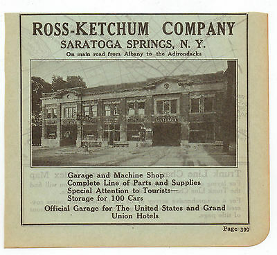 Original, 1915 - Ross-Ketchum Company Ad - Garage, Saratoga Springs, New York