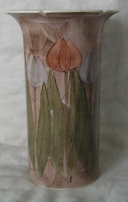 BEAUTIFUL JERSEY POTTERY VASE WITH TULIPS hand painted