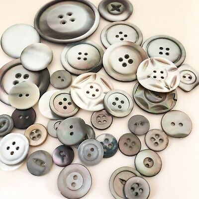 Vintage Smoky Pearl Shell Button Lot Carved Crafts Art Gray Silver Beach