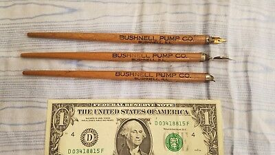 "H980) Set of 3 Wooden Dip Pens, ""BUSHNELL PUMP CO"", 2 w Pen Points"
