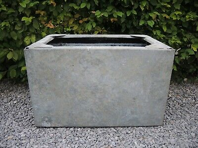 Weathered Vintage Galvanised Trough Garden Planter 60 cm long (a)