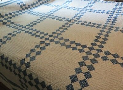 Antique Hand Stitched Blue and White Patchwork Quilt~78x78