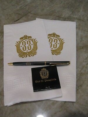 Disneyland Club 33 Pen, Notepad looks like matches with 2 Club 33 Napkins Disney