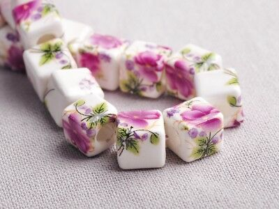 NEW 10pcs 10mm Cube Square Ceramic Spacer Loose Beads Flowers Pattern #11