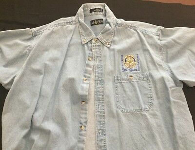Rotary International  Denim Shirt Embroidered Centennial Logo  2XL