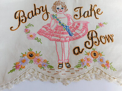 Vtg 1930's Hand Embroidered Baby Take A Bow Linen Towel Shirley Temple  Doll