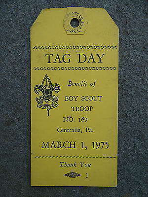 Centralia Pa Wilkes Barre Vintage 1975 Boy Scout Troop #169 Tag Day Mine Fire