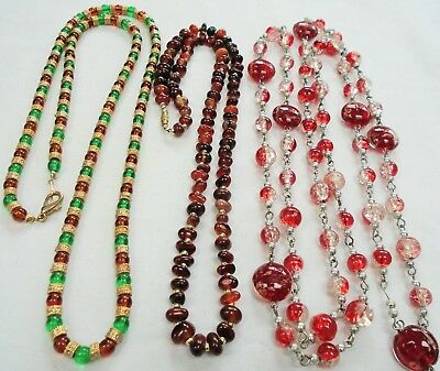 Good vintage gold metal, amber & emerald glass bead necklace + 2