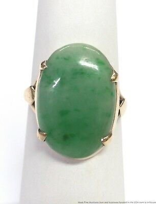 Vintage Jadeite Jade 14k Yellow Gold Ring Size 5