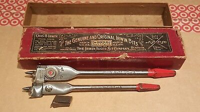 2 - Vintage Chas.H Irwin No.1 & 22 Expansive Auger Wood Bits lot with Box USA