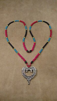 Rohirrim Horse Heart Pewter Pendant & Beaded Necklace, LOTR, SCA, Larp, Norman
