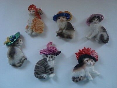 Cats with Fancy Hats Kitchen Magnets Refrigerator Lot of 6