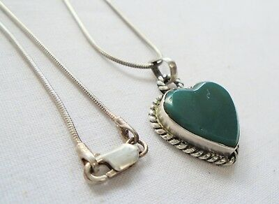 Good vintage sterling silver & jade glass heart pendant + sterling silver chain